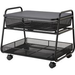 "Safco Onyx Under Desk Machine Stand - 100 lb Load Capacity - 17.5"" Height x 21"" Width x 16"" Depth - Wood, Steel - Black"