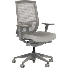 "Safco Gist Task Chair - 5-star Base - Gray, Black - 26.5"" Width x 25"" Depth x 14.8"" Height"