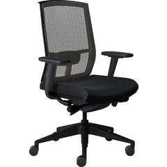 "Safco Gist Task Chair - 5-star Base - Black, Silver - 26.5"" Width x 25"" Depth x 14.8"" Height"