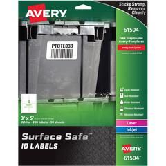 """Avery&reg Surface Safe ID Labels - Removable Adhesive - 3"""" Width x 5"""" Length - Rectangle - Laser, Inkjet - White - Polyester - 4 / Sheet - 50 Total Sheets - 200 / Pack"""