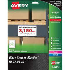 """Avery&reg Surface Safe ID Labels - Removable Adhesive - 4"""" Width x 6"""" Length - Rectangle - Laser, Inkjet - White - Polyester - 2 / Sheet - 50 Total Sheets - 100 / Pack"""