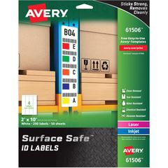 """Avery&reg Surface Safe ID Labels - Removable Adhesive - 2"""" Width x 10"""" Length - Rectangle - Laser, Inkjet - White - Polyester - 4 / Sheet - 50 Total Sheets - 200 / Pack"""