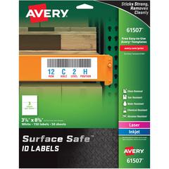 """Avery&reg Surface Safe ID Labels - Removable Adhesive - 3 1/4"""" Width x 8 3/8"""" Length - Rectangle - Laser, Inkjet - White - Polyester - 3 / Sheet - 50 Total Sheets - 150 / Pack"""