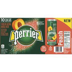 Perrier Slim Can Mineral Water Beverage - Peach Flavor - 8.45 fl oz (250 mL) - Can - 30 / Carton