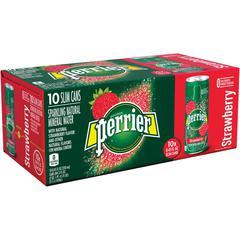 Perrier Slim Can Mineral Water Beverage - Ready-to-Drink - Strawberry Flavor - 8.45 fl oz (250 mL) - Can - 30 / Carton