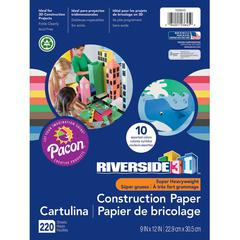 """Riverside 3D Construction Paper - Project, Modeling - 9"""" x 12"""" - 220 / Pack - Black, Blue, Brown, Green, Light Blue, Orange, Pink, Red, White, Yellow"""