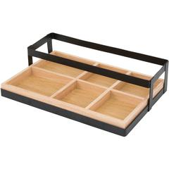 "Vertiflex Tabletop Condiment Caddy - 6 Compartment(s) - 3.3"" Height x 14"" Width - Tabletop - Black, Brown - 1Each"