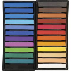 "Derwent Blendable Soft Pastels - 0.8"" Length - White, Peach, Yellow Ochre, Brilliant Red, Deep Orange, Crimson, Light Brown, Burnt Umber, Turquoise, Violet, Shamrock, ... - 24 / Set"