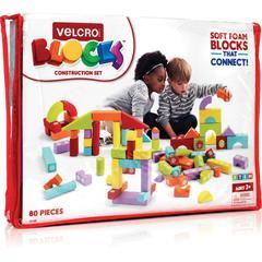 VELCRO® Brand Foam Blocks Construction Set - Theme/Subject: Learning - Skill Learning: Building, Construction, Imagination, Creativity, Shape, Color - 80 Pieces