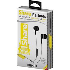 Maxell Share Earbuds - Wired - Earbud - 3.08 ft Cable - Gray