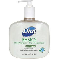 Dial Basics HypoAllergenic Liquid Hand Soap - Fresh Floral Scent - 16 fl oz (473.2 mL) - Pump Bottle Dispenser - Kill Germs - Hand, Skin - White - Anti-bacterial, Hypoallergenic - 12 / Carton