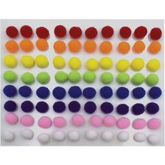 "Creativity Street Peel-n-Stick Pom Pons - Project - 11.8"" x 1.5""9.3"" - 240 / Pack - White, Pink, Purple, Blue, Yellow, Orange, Green, Red - Plush"