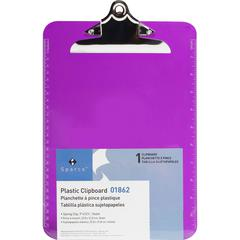 Business Source Spring Clip Plastic Clipboard - Spring Clip - Plastic - Violet - 12 / Box