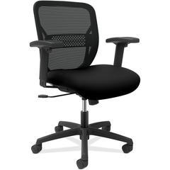 "HON Gateway Adjustable Task Chair - Black Seat - Black Back - Black Frame - 5-star Base - 25.8"" Width x 25.3"" Depth x 38.3"" Height"