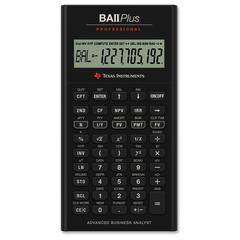 "BAII Plus Professional Calculator - 10 Digits - Battery Powered - 1.3"" x 6.9"" x 9.6"" - Black - 1 Each"