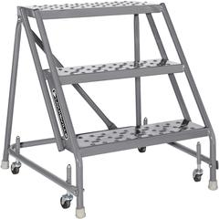 "Louisville 3-step Steel Warehouse Ladder - 3 Step - 450 lb Load Capacity - 33"" x 28"" x 30"" - Gray"