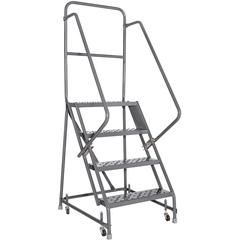 "Louisville 4-step Steel Warehouse Ladder - 4 Step - 450 lb Load Capacity - 19"" x 27"" x 76"" - Gray"