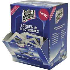 Endust Screen/Electronics Clean Wipes - For Smartphone, Handheld Device, Notebook, LCD, GPS Navigation System, Display Screen - Anti-static, Alcohol-free, Ammonia-free, Soft, Non-abrasive - 150 / Pack