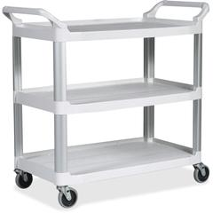 "Rubbermaid Commercial Open Sided Utility Cart - 3 Shelf - 300 lb Capacity - 4"" Caster Size - 36"" Width x 15.1"" Depth x 20.8"" Height - Aluminum Frame - White"