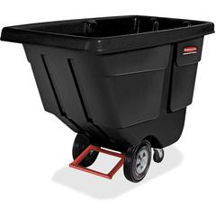"Rubbermaid Commercial Rotomolded Utility Tilt Truck - 450 lb Capacity - Plastic - 57.4"" Width x 57.4"" Depth x 26.9"" Height - Steel Frame - Black"