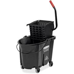 Rubbermaid Commercial WaveBrake Side Press Mop Bucket - 35 quart - Wringer - Tubular Steel, Plastic - Black