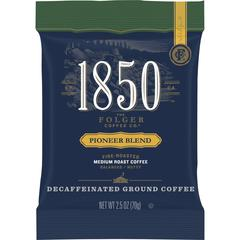 Folgers 1850 Pioneer Blend Decaf Ground Coffee Pouches - Decaffeinated - Arabica, Nut, Pioneer - 12 oz - 24 / Carton