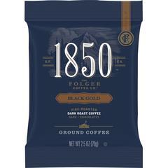 Folgers 1850 Black Gold Dark Roast Ground Coffee - Arabica, Dark Blend - 12 oz - 24 / Carton