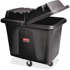 "Rubbermaid Commercial Cube Truck, 14 Cubic Foot, Black - 104.73 gal Capacity - Durable, Easy to Clean, Smooth, Wheels, Handle - 44"" Height x 31"" Width x 32.5"" Depth - Metal, Plastic - Black"