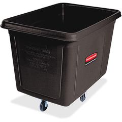 "Rubbermaid Commercial 20 cu ft Cube Truck - 149.61 gal Capacity - Durable, Easy to Clean, Smooth, Wheels, Handle - 36.5"" Height x 48"" Width x 34"" Depth - Metal, Plastic - Black"