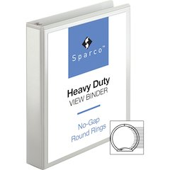 "Sparco Premium Round Ring View Binders - 1 1/2"" Binder Capacity - Letter - 8 1/2"" x 11"" Sheet Size - 3 x Round Ring Fastener(s) - 2 Internal Pocket(s) - Polypropylene - White - 1 Each"