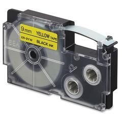 "Casio EZ-Label Printer Tape Cartridges - 0.35"" Width x 26 ft Length - Rectangle - Black, Yellow - 1 Each"