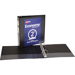 """Avery Economy View Binders with Round Rings - with Merchandising - 2"""" Binder Capacity - Letter - 8 1/2"""" x 11"""" Sheet Size - 375 Sheet Capacity - 3 x Round Ring Fastener(s) - 2 Internal Pocket(s) - Blac"""
