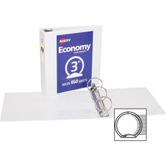 """Avery Economy View Binders with Round Rings - with Merchandising - 3"""" Binder Capacity - Letter - 8 1/2"""" x 11"""" Sheet Size - 460 Sheet Capacity - 3 x Round Ring Fastener(s) - 2 Internal Pocket(s) - Whit"""