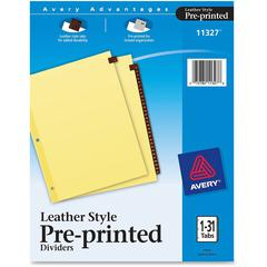 "Avery Clear Reinforced Red Lthr Daily Tab Dividers - 31 Printed Tab(s) - Digit - 1-31 - 31 Tab(s)/Set - 8.5"" Divider Width x 11"" Divider Length - Letter - 3 Hole Punched - Buff Buff Paper Divider - Re"
