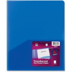 """Avery Translucent Two Pocket Folders - Letter - 8 1/2"""" x 11"""" Sheet Size - 2 Internal Pocket(s) - Polypropylene - Blue - 2.40 oz - 24 / Box"""