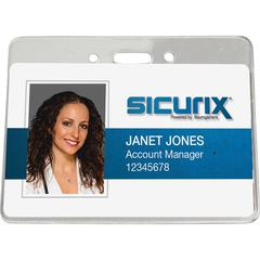 "Horizontal ID Badge Holder - 3.9"" x 2.6"" - Vinyl - 50 / Pack - Clear"