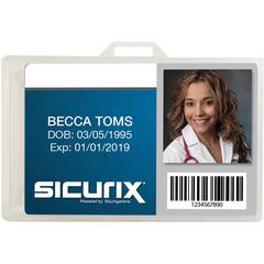 "SICURIX Horizontal Plastic ID Card Holder Dispensers - 3.4"" x 2.1"" - Plastic - 25 / Pack - Clear"