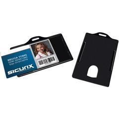 SICURIX Horizontal Black Frame ID Card Holder - Plastic - 25 / Pack - Black