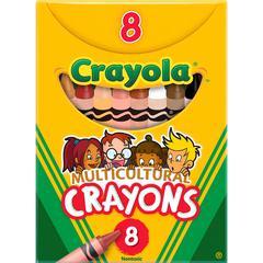 "Crayola Large Regular Multicultural Crayons - 3.6"" Length - 0.3"" Diameter - Black, Sepia, Peach, Apricot, White, Tan, Mahogany, Burnt Sienna - 8 / Box"