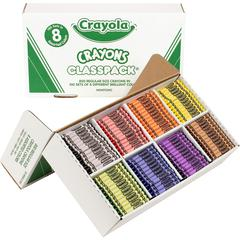 Crayola 8-Color Classpack Crayons - Red, Blue, Yellow, Orange, Green, Purple, Brown, Black, Violet - 800 / Box