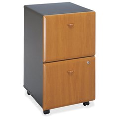 "Bush Business Furniture Series A 2 Drawer Mobile Pedestal - Assembled - 15.5"" x 20.3"" x 28.2"" - 2 x File Drawer(s) - Material: Pressboard, Melamine, Hardwood, Engineered Wood, Wood - Finish: Thermofus"
