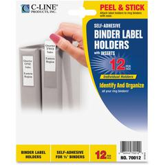 "C-Line Self-Adhesive Binder Label Holder - 0.5"" x 1.6"" - Vinyl - 12 / Pack - Clear"""