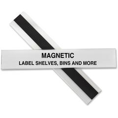 "C-Line Hol-Dex Magnetic Shelf/Bin Label Holders - 1"" x 6"" - Plastic - 10 / Box - Clear"""