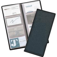 "Cardinal Sewn 96 Card File - 96 Capacity - 4.25"" Width x 10.38"" Length - Black Vinyl Cover"