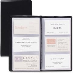 "Cardinal Business Card File - 72 Capacity - 4.38"" Width x 7.75"" Length - Black Vinyl Cover"