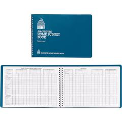 """Dome Simplified Home Budget Book - 64 Sheet(s) - Wire Bound - 7.50"""" x 10.50"""" Sheet Size - White Sheet(s) - Blue Cover - Recycled - 1 Each"""