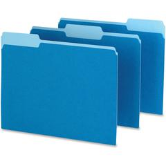 "Pendaflex Two-tone Color File Folders - Letter - 8 1/2"" x 11"" Sheet Size - 1/3 Tab Cut - Assorted Position Tab Location - 11 pt. Folder Thickness - Blue - Recycled - 100 / Box"
