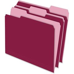 "Pendaflex Two-tone Color File Folders - Letter - 8 1/2"" x 11"" Sheet Size - 1/3 Tab Cut - Assorted Position Tab Location - 11 pt. Folder Thickness - Burgundy - Recycled - 100 / Box"