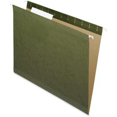 "Pendaflex Reinforced Std Green Hanging Folders - Letter - 8 1/2"" x 11"" Sheet Size - 1/3 Tab Cut - Assorted Position Tab Location - Standard Green - Recycled - 25 / Box"