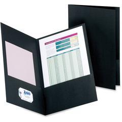 "Oxford Double Pocket Leatherine Portfolios - Legal - 8 1/2"" x 14"" Sheet Size - 150 Sheet Capacity - 2 Pocket(s) - Black - 25 / Box"